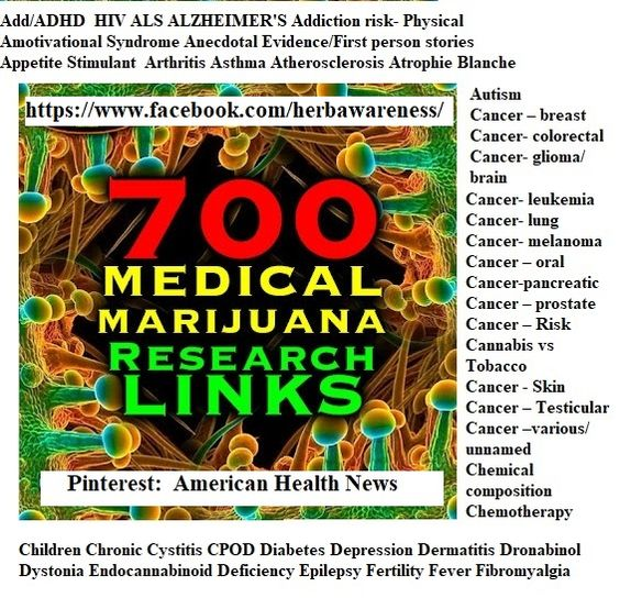 700 medical marijuana [cannabis] clinical studies sorted by disease therapeutic uses and treatment